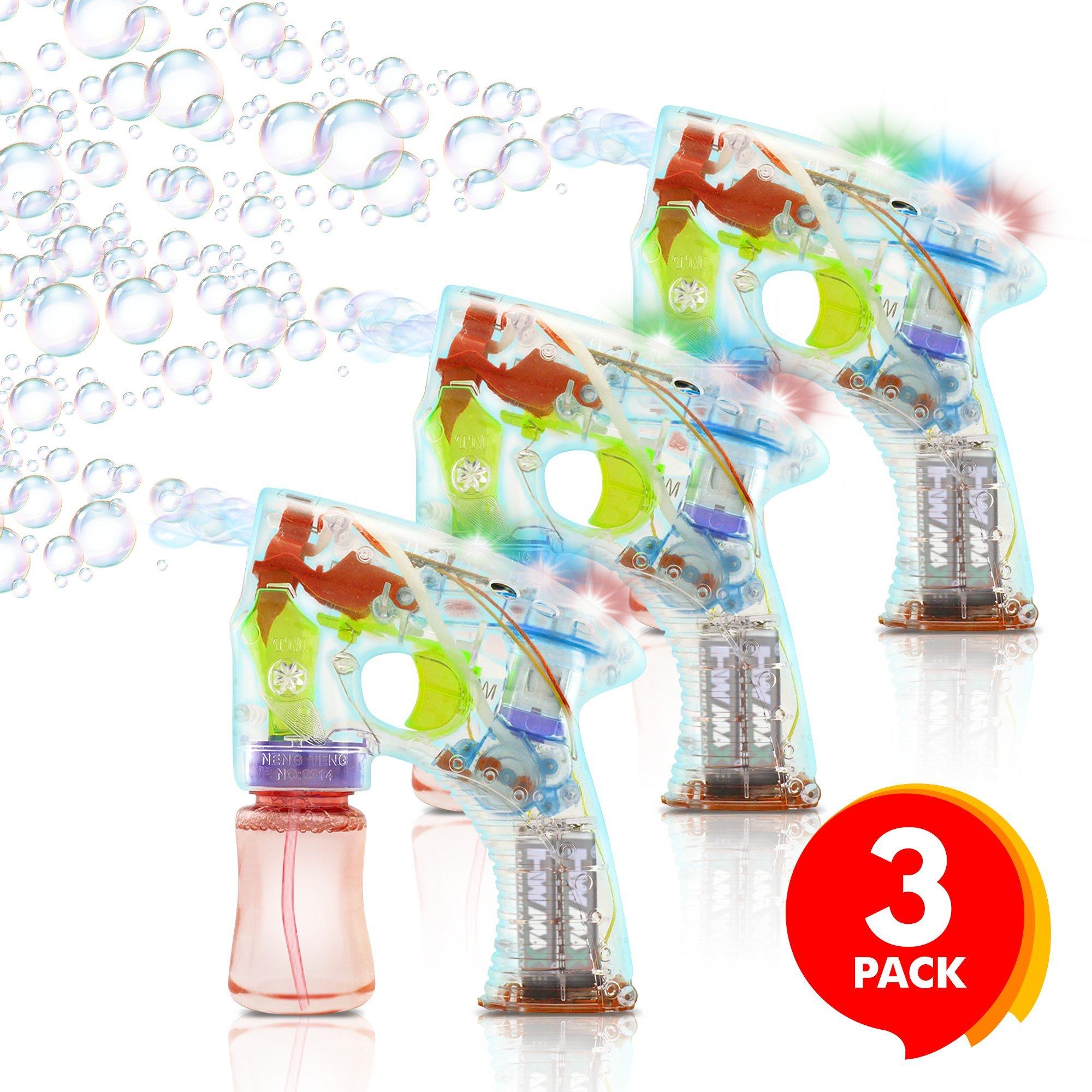 ArtCreativity Light up Bubble Gun (Set of 3) | Medium Lightweight Design | Perfect Summertime | Engaging Entertaining | Party Favor, Amazing Gift Idea Boys Girls (Batteries Included)