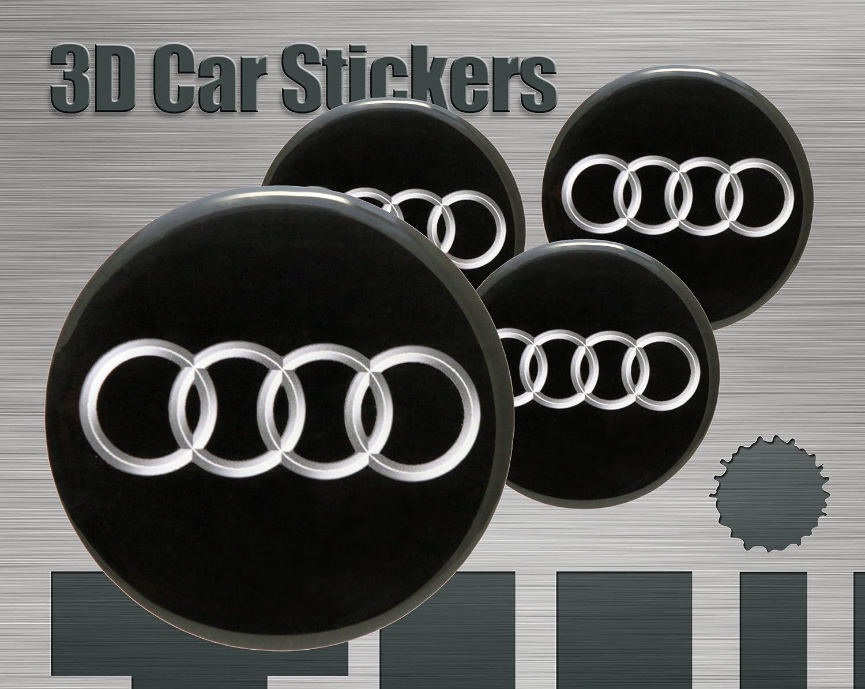 Adesivi 3D Stickers 4 pezzi Logo Audi Imitazione Tutte le dimensioni Centro Cap Wheel Coprimozzo (72 mm) Think Ink