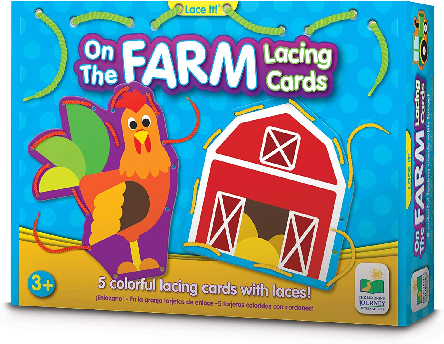 Preschool Toys /& Gifts for Boys /& Girls Ages 3 and Up On The Farm Lacing Cards The Learning Journey Lace It