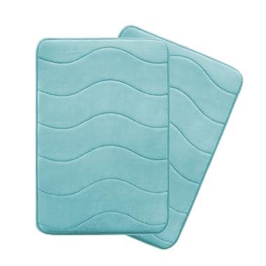 Soft Non Slip Absorbent Bath Rugs, Memory Foam Bath Mats Two Pack by FlamingoP Green Waved Pattern, Size:W17 xL24