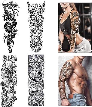 Konsait Tatouage Temporaire Pour Adulte Homme Femmes Manchette Tatouage Tattoo Etanche Noir Body Tattoo Sticker Bras Tatouages Ephemeres Lion Crane Mort 4 Feuilles Amazon Fr Beaute Et Parfum