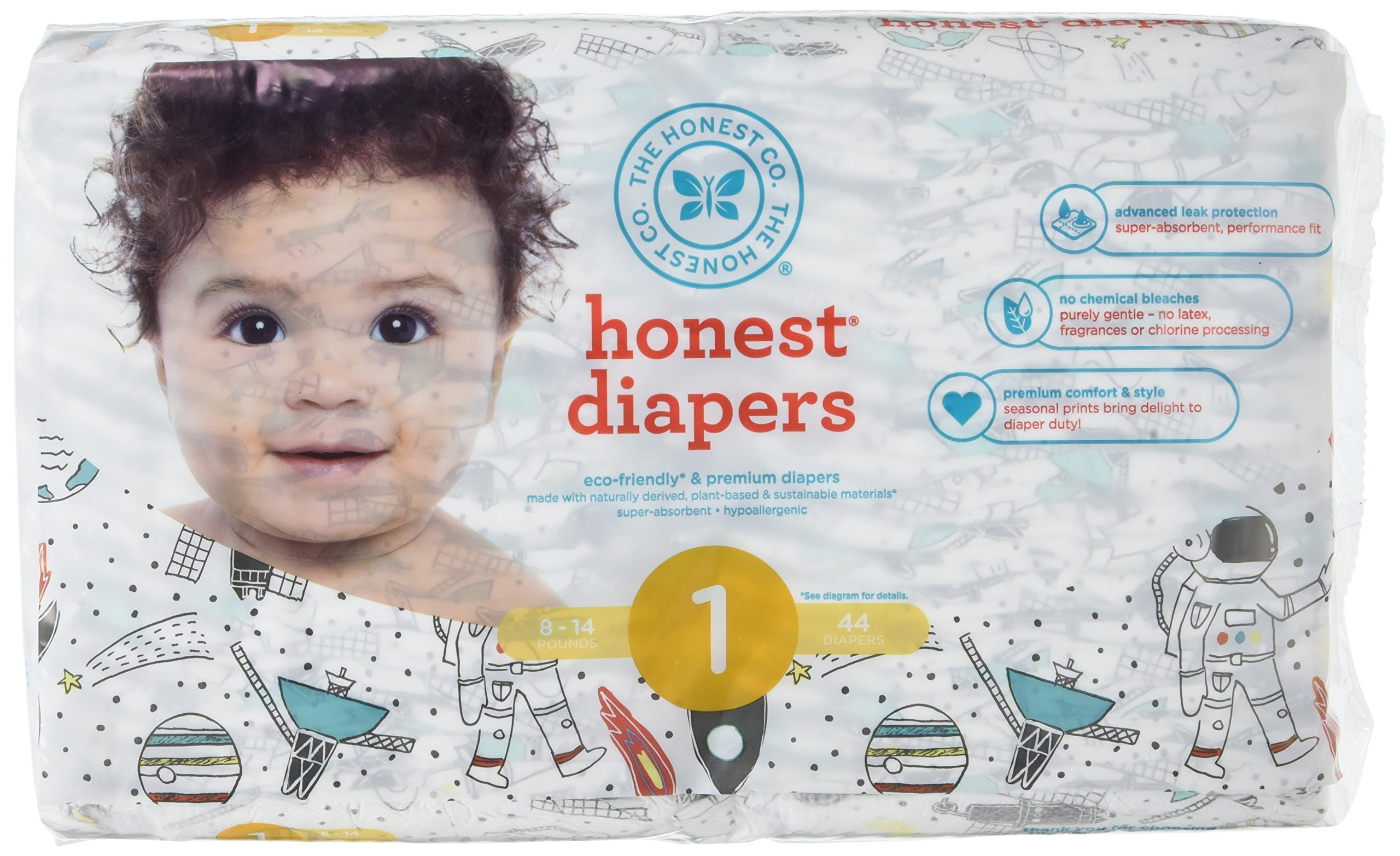 The Honest Company Disposable Baby Diapers, Space Travel, Size 1, 44 ct