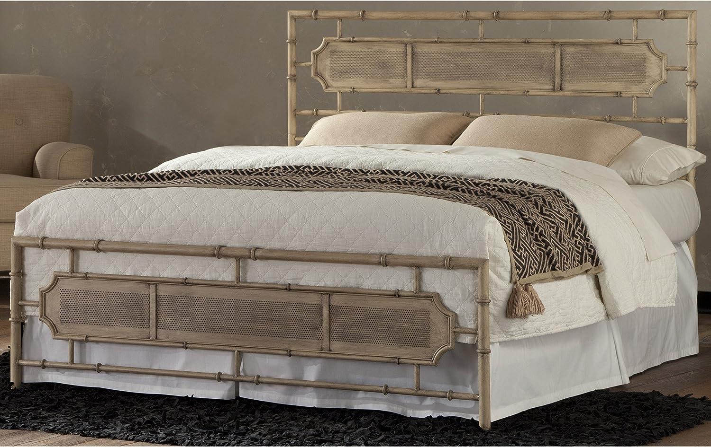 Leggett Platt Laughlin Snap Bed with Naturalistic Wooden Inspired Panels and Folding Metal Side Rails, Desert Sand Finish, King