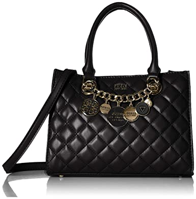 554358ead3c0 Amazon.com  GUESS Victoria Small Girlfriend Satchel, Black  Clothing