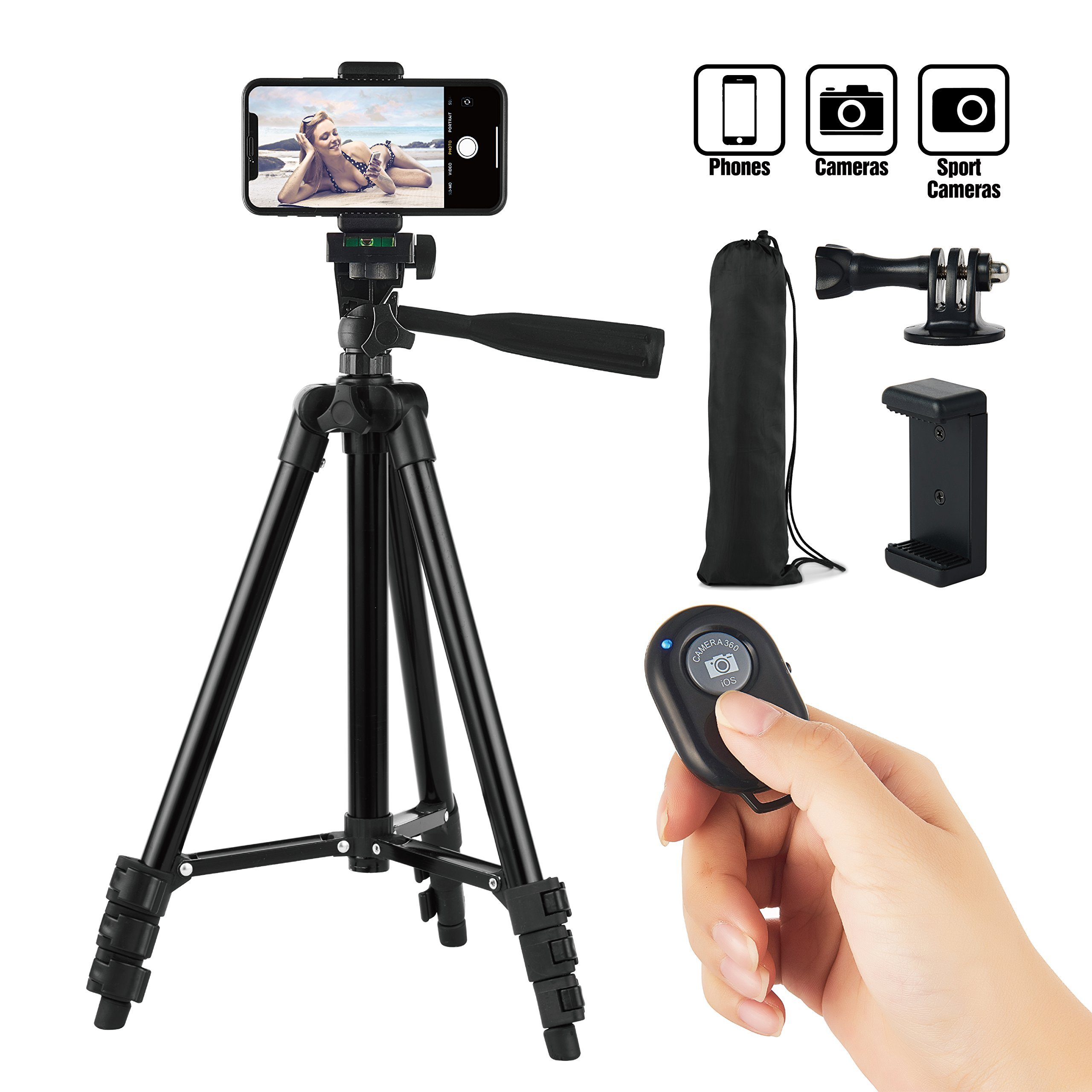 Hitch Phone Tripod, Gopro Tripod 42 Inch 106cm Aluminum Lightweight Smartphone Tripod for Iphone/Samsung/Huawei Cellphone, Camera and Gopro with Bluetooth Remote Control, Carrying Bag and Gopro Mount by Hitch