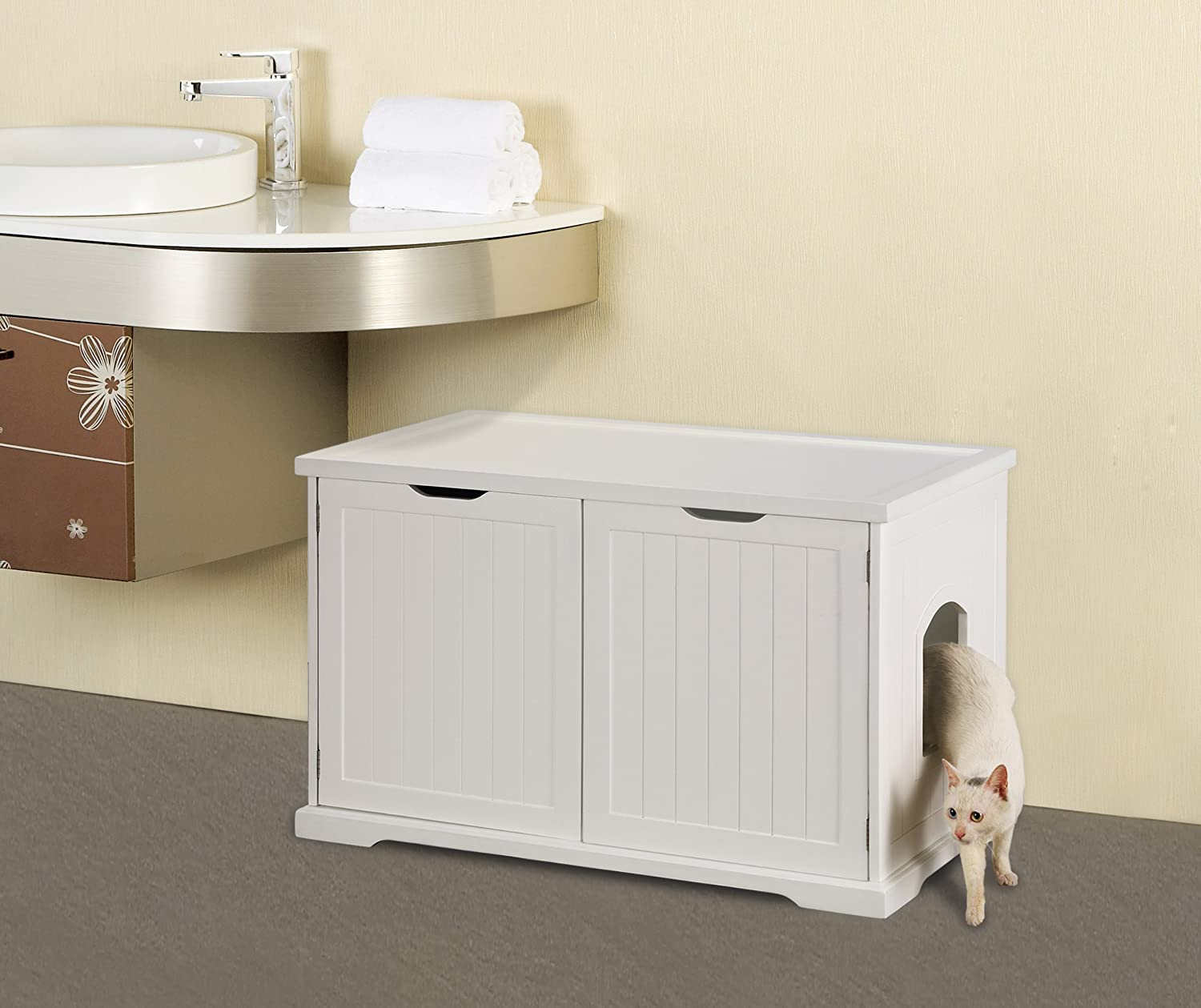 Amazon.com : Merry Products Cat Washroom Bench, White : Cat Houses And  Condos : Pet Supplies
