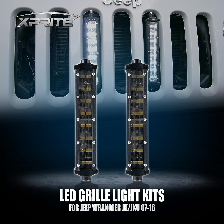 amazon com xprite ak series 8 vertical grille philips led light amazon com xprite ak series 8 vertical grille philips led light bar kit for 2007 2017 jeep wrangler jk jku 2 lights automotive