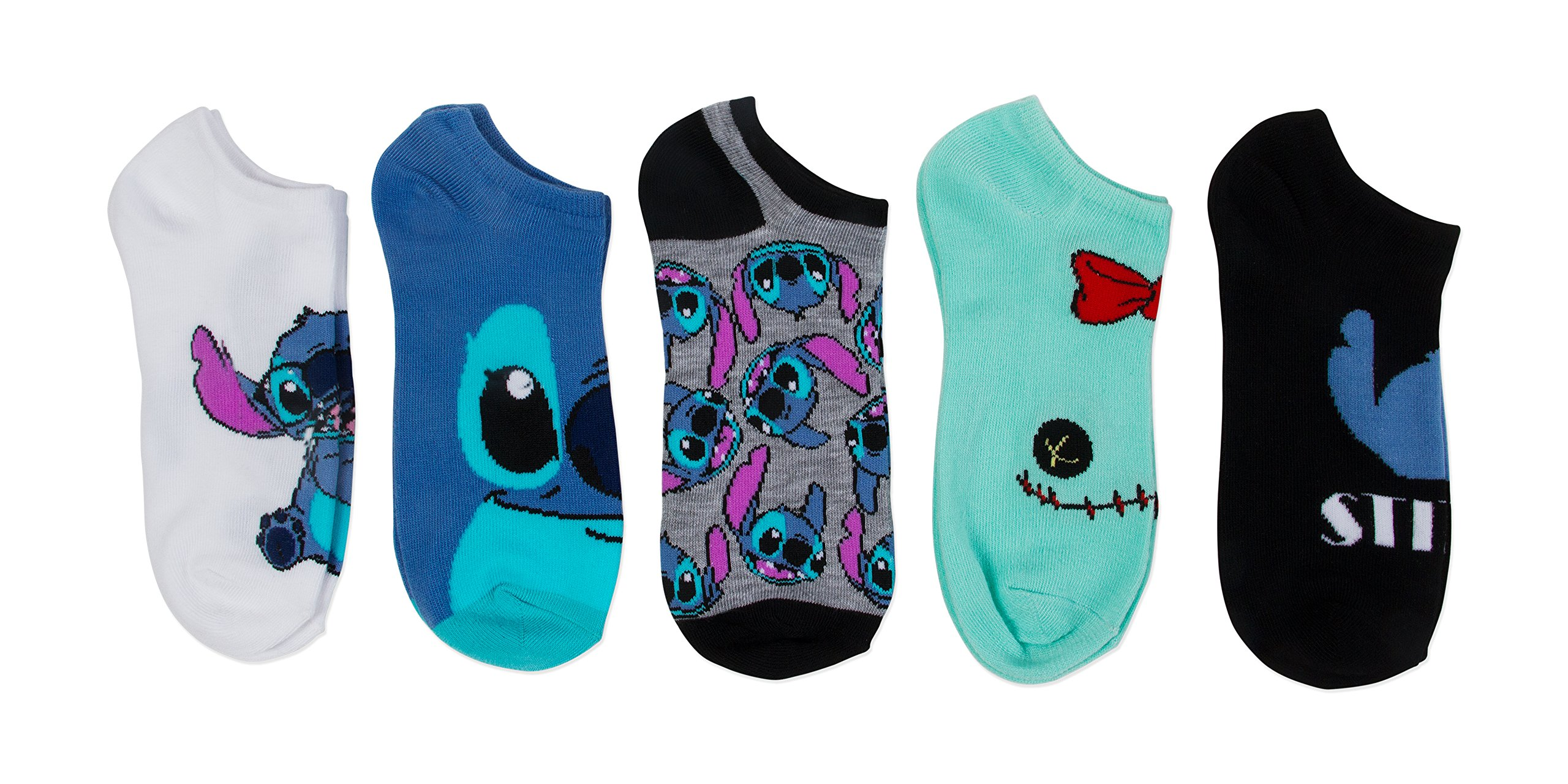 Disney Women's Lilo and Stitch 5 Pack No Show, Assorted Blue, fits Sock Size 9-11 fits Shoe Size 4-10.5