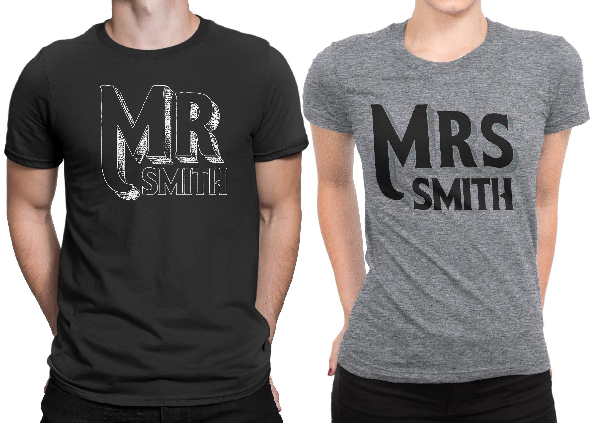 Mr Mrs Customized Lastname Married Couple Matching T-shirt Honeymoon valentines Men X-Large / Women X-Large | Black - Deep Heather