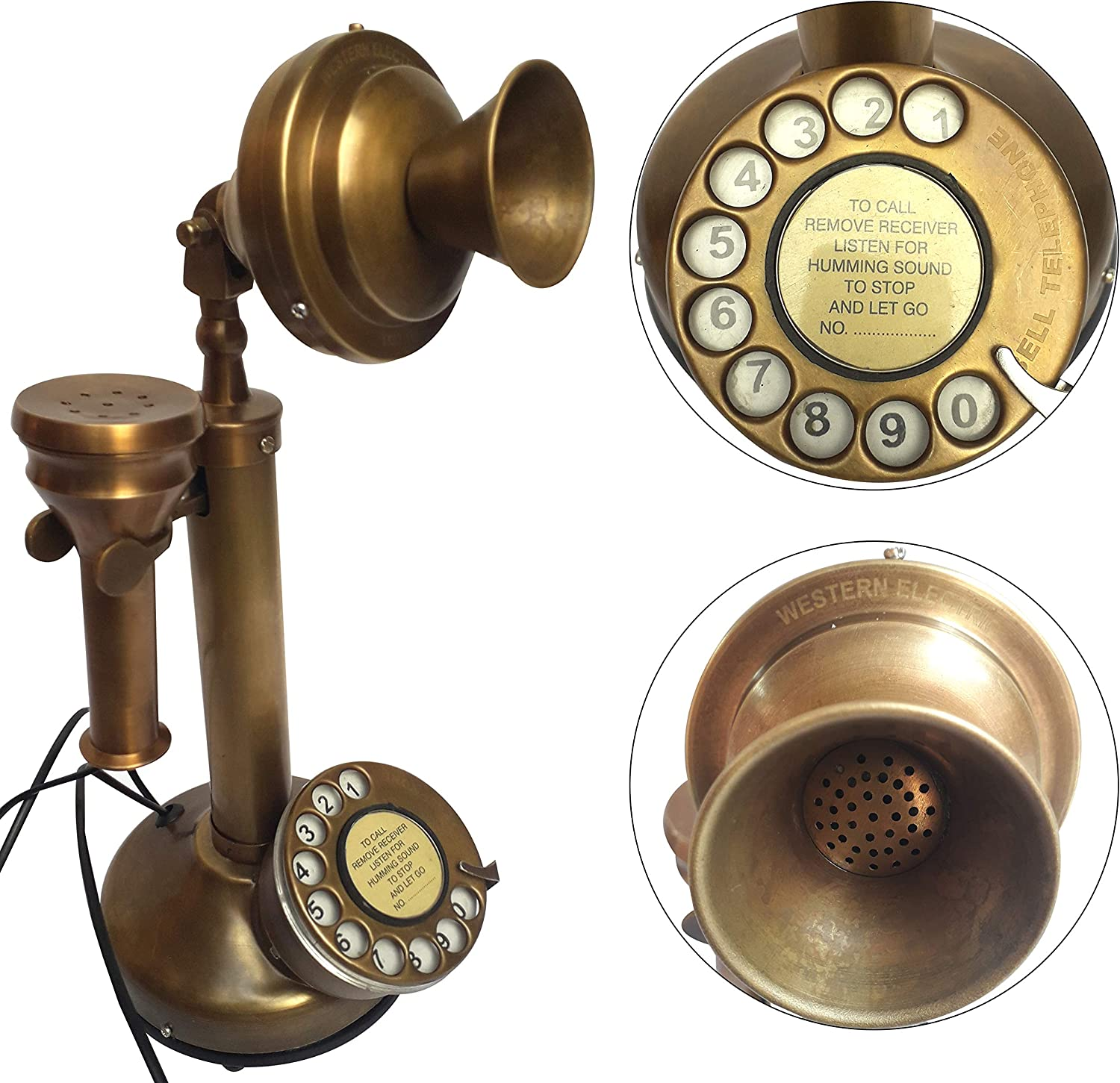 1904 With Ringer Box Here is an original Antique Brass American Telephone and Telegraph Candlestick Original Telephone