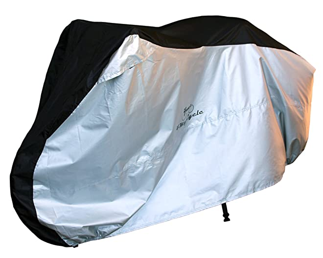 4MyCycle 210T Waterproof Bike Cover, Black and Silver