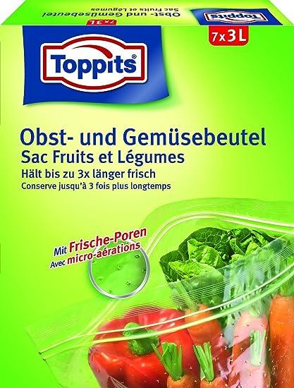 10 x toppits® Bolsa de frutas y verduras con doble cierre de Zip (7