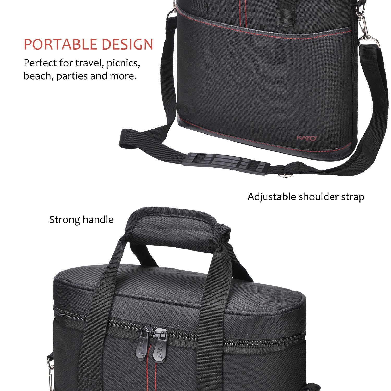 Tirrinia Insulated Wine Carrier - 3 Bottle Travel Padded Wine Carry Cooler Tote Bag with Handle and Adjustable Shoulder Strap + Free Corkscrew, Black by Tirrinia (Image #4)