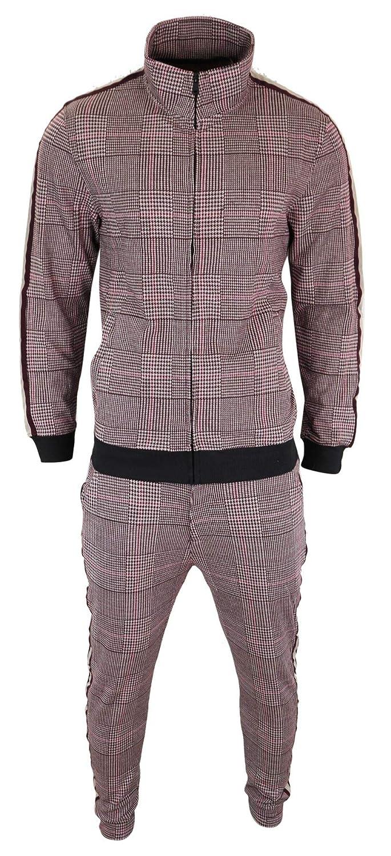 Soulstar Herren Trainingsanzug TailoROT Fit Tweed Design Kariert 80& 039;s Klassisch