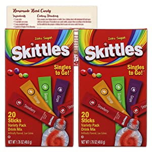 Skittles Singles to Go Drink Mix Packets | 2 Pack - 40 Total Water Flavor Packets | Zero Sugar Drink Packets | Bundled with Ballard Hard Candy Recipe Card
