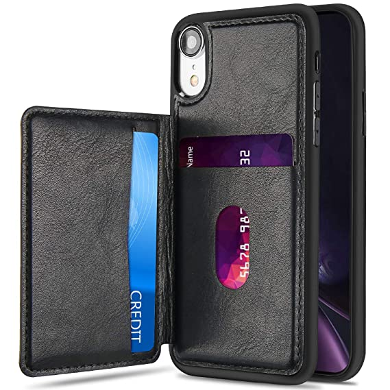 new arrivals ab731 081c4 ProCase iPhone XR Wallet Case, Slim Flip Kickstand Leather Case Minimalist  Hybrid Stand Protective Back Cover with Two Card Slots Holder for Apple ...