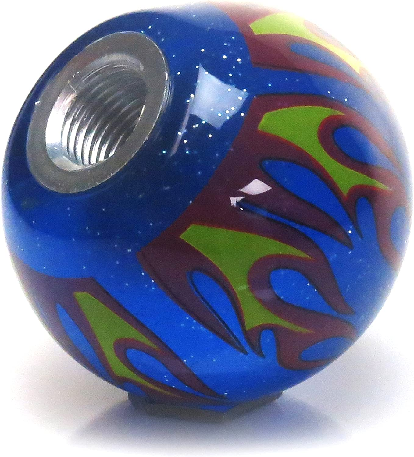 American Shifter 327767 White Built Not Bought Simple Blue Flame Metal Flake Shift Knob with M16 x 1.5 Insert