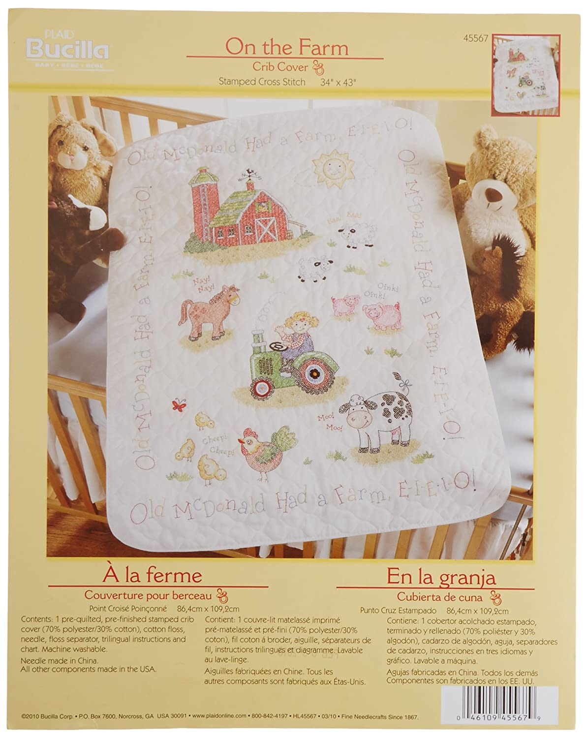 Bucilla Stamped Cross Stitch Crib Cover Kit, 34 by 43-Inch, 45567 On The Farm Plaid Inc dimensions needlecrafts tobin stitchery