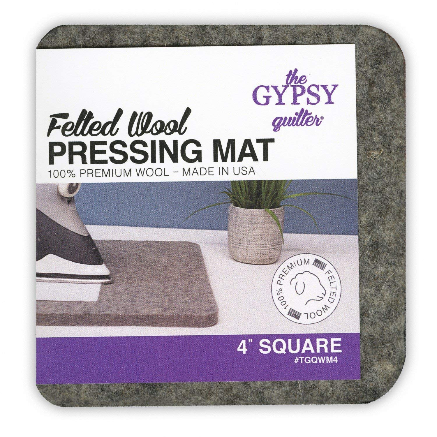 Gypsy Quilter Felted Wool Pressing Mat 8.5x8.5x0.5 Made in USA