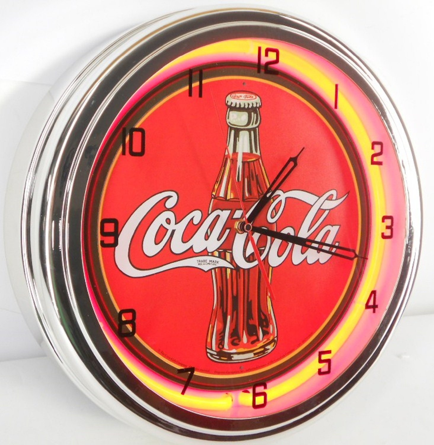 Coca Cola Bottle 15'' Neon Lighted Wall Clock Red