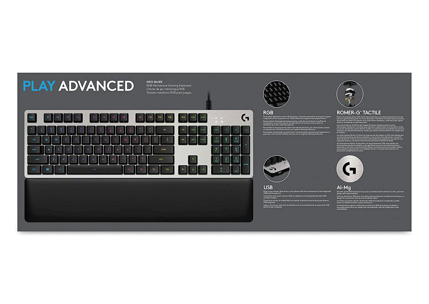 Amazon.com: Logitech G513 Carbon RGB Mechanical Gaming Keyboard, Romer-G Tactile: Computers & Accessories