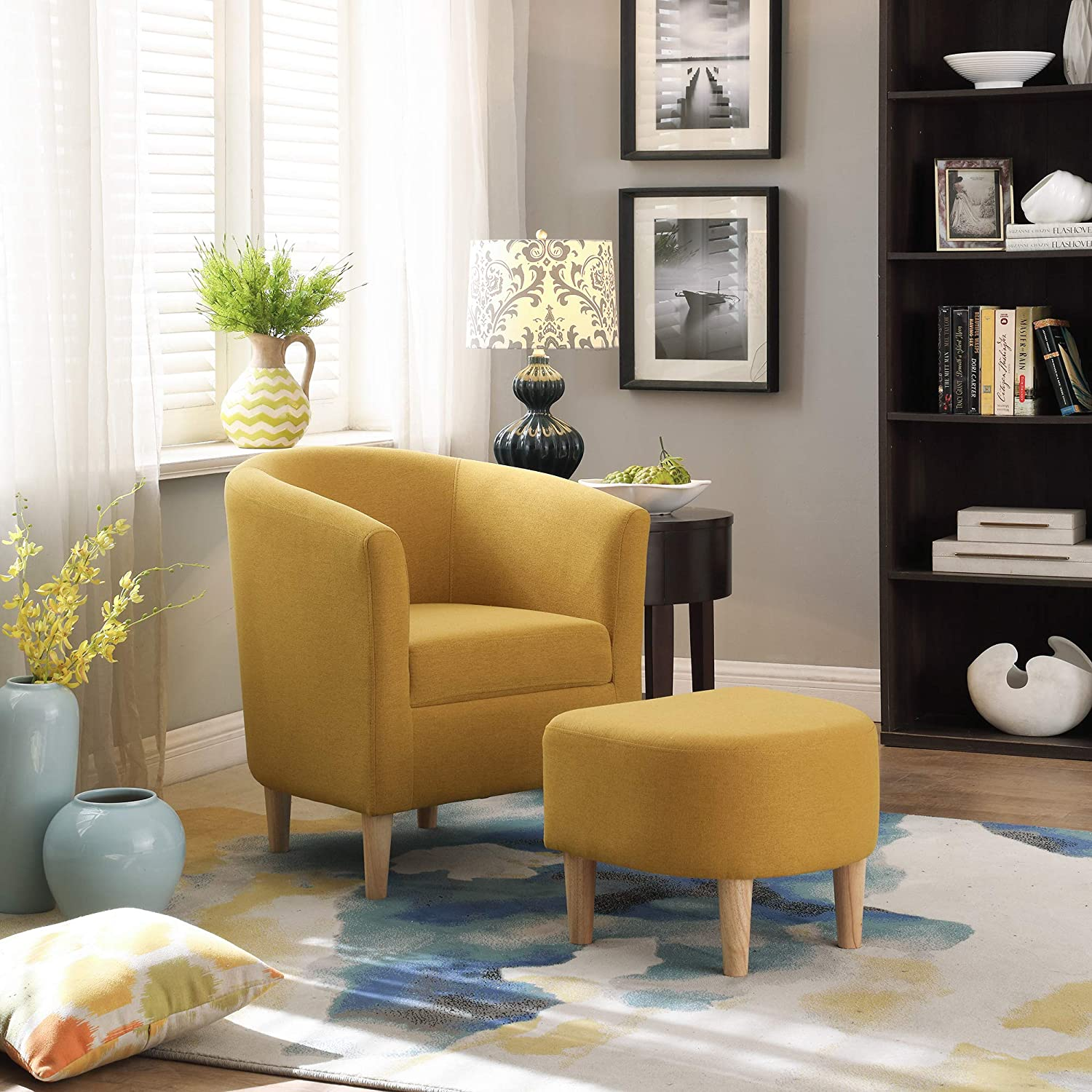 DAZONE Modern Accent Chair, Upholstered Arm Chair Linen Fabric Single Sofa Chair with Ottoman Foot Rest Mustard Yellow: Kitchen & Dining