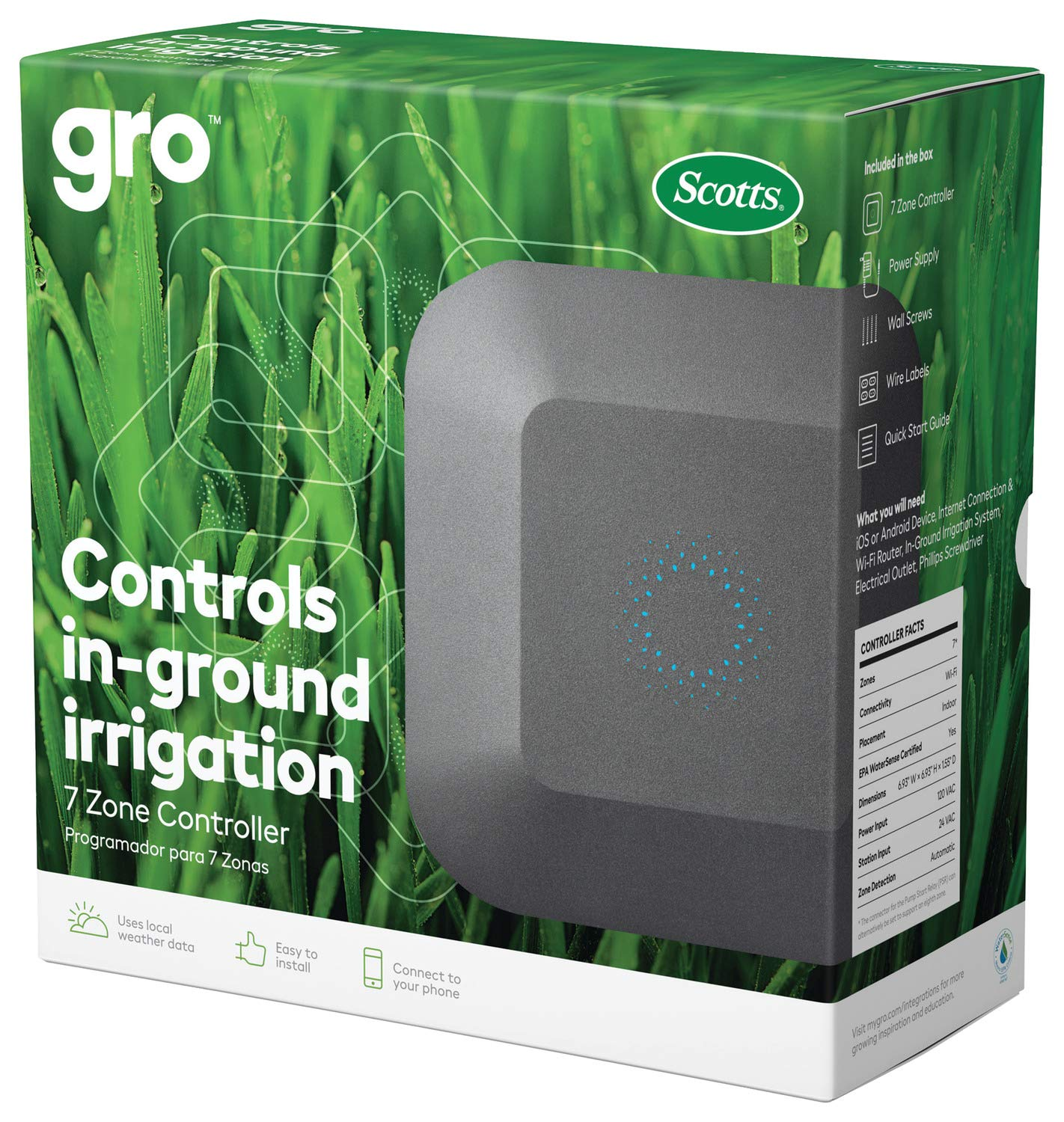 Gro 7 Zone Controller from Scotts - Sprinkler/Irrigation Controller, Works with Alexa and Google Assistant by Scotts