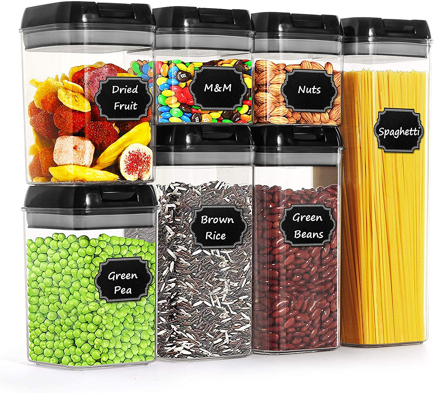 Airtight Food Storage Containers by Paincco, BPA Free Black Cereal Storage Containers Set of 7 for Kitchen Pantry Organization, with 20 Labels & 1 Marker