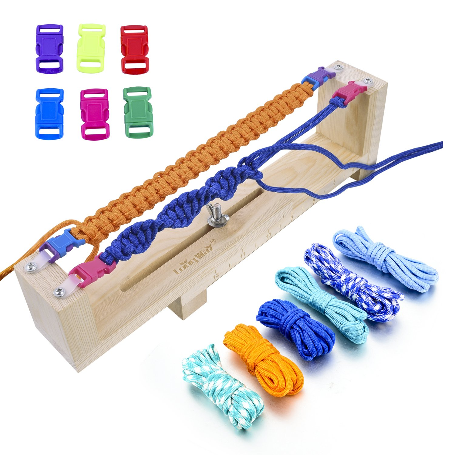 Long Way ® Jig Bracelet Maker with Parachute Cord, Wristband Maker - 6 parachute cords and 6 quick release buckles - Paracord Braiding Weaving DIY Craft Tool Kit - Heavy Duty Buckles SBM160001MT1
