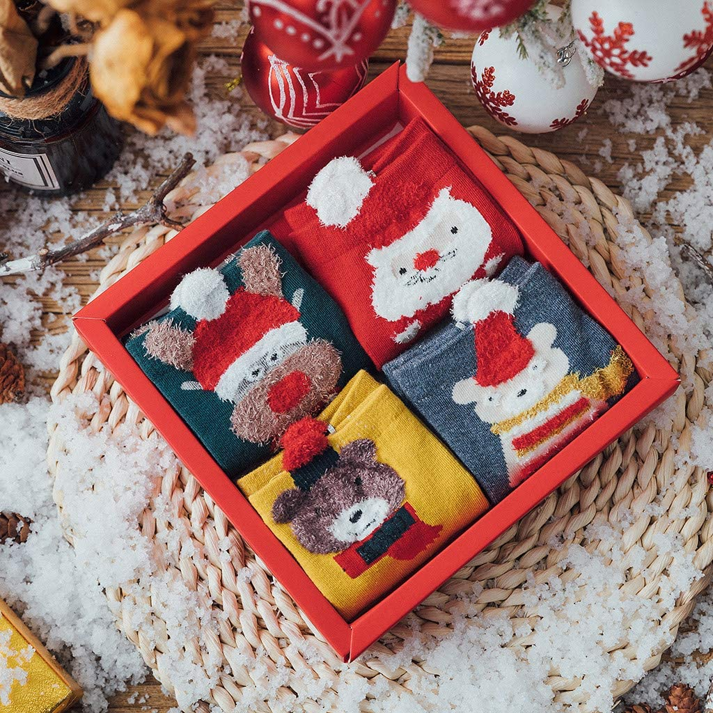 Ladies Cotton Terry Thicken Warm Socks with Gift Box 4 Pairs Women Christmas Printed Cute Ankle Socks