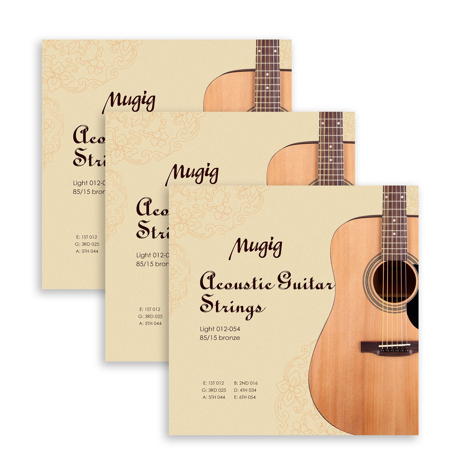 Mugig Acoustic Guitar Strings in Bronze for Acoustic Guitar Package of 3 sets 012-054