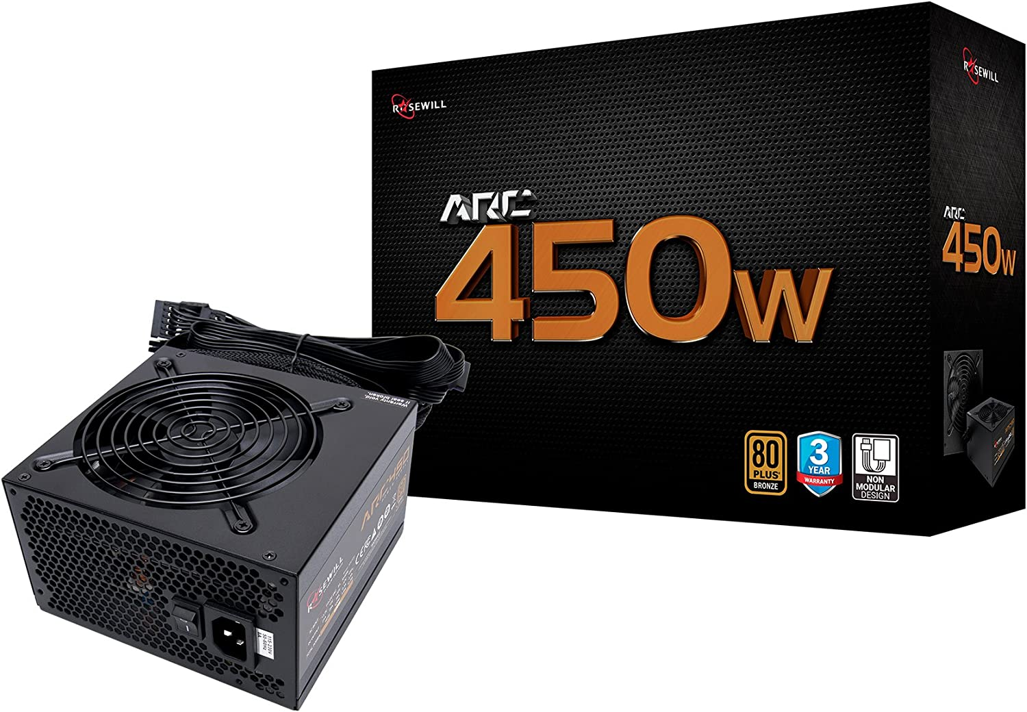 Rosewill Gaming Power Supply, Arc Series 450 Watt (450W) 80 Plus Bronze Certified PSU with Silent 120mm Fan and Auto Fan Speed Control, 3 Year Warranty - ARC450