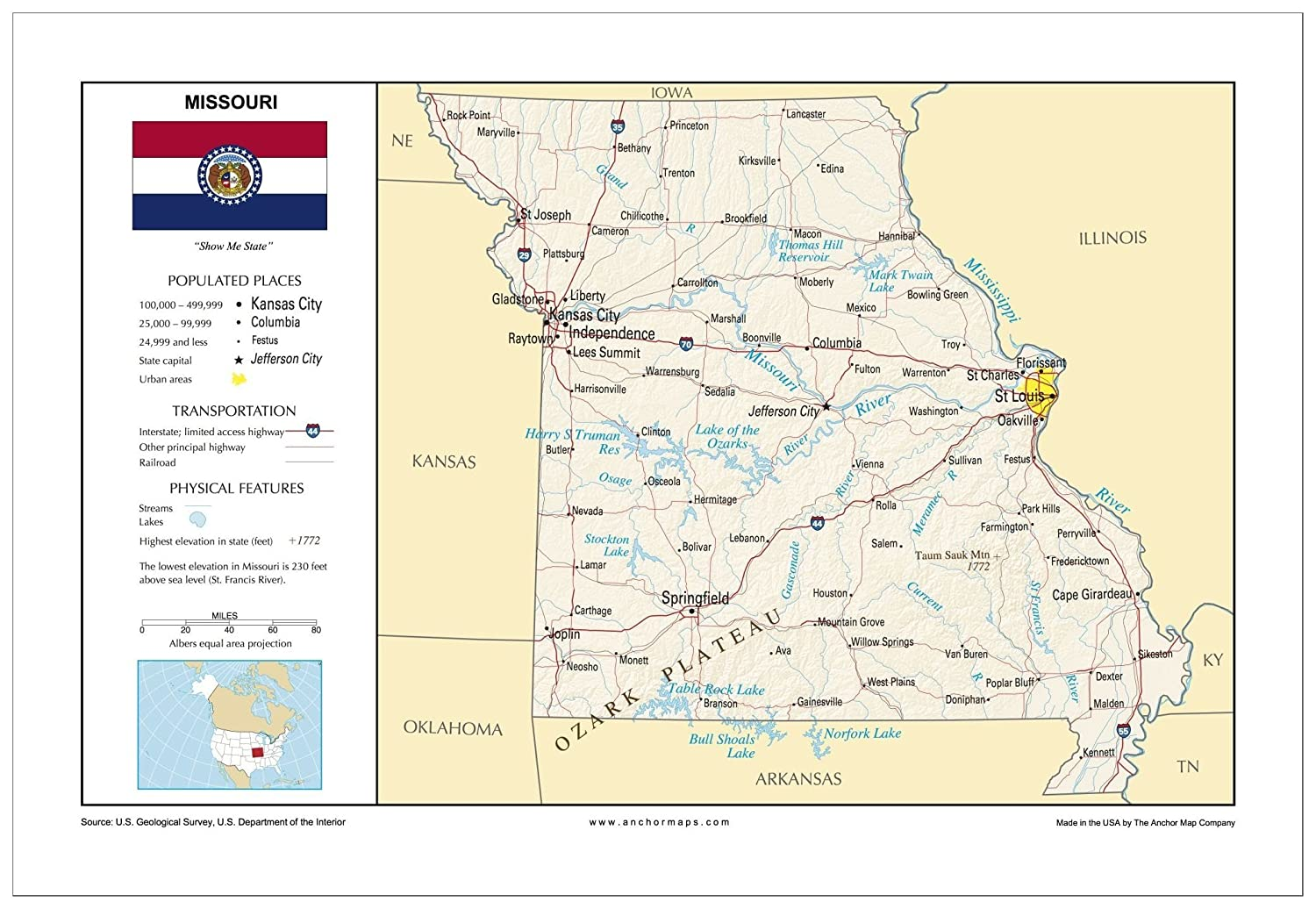 Amazon Com 13x19 Missouri General Reference Wall Map Anchor Maps