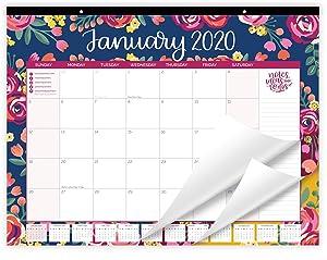 "bloom daily planners 2020 Desk/Wall Monthly Calendar Pad (January 2020 - December 2020) - Large 21"" x 16"" Hanging or Desktop Blotter - Vintage Floral"