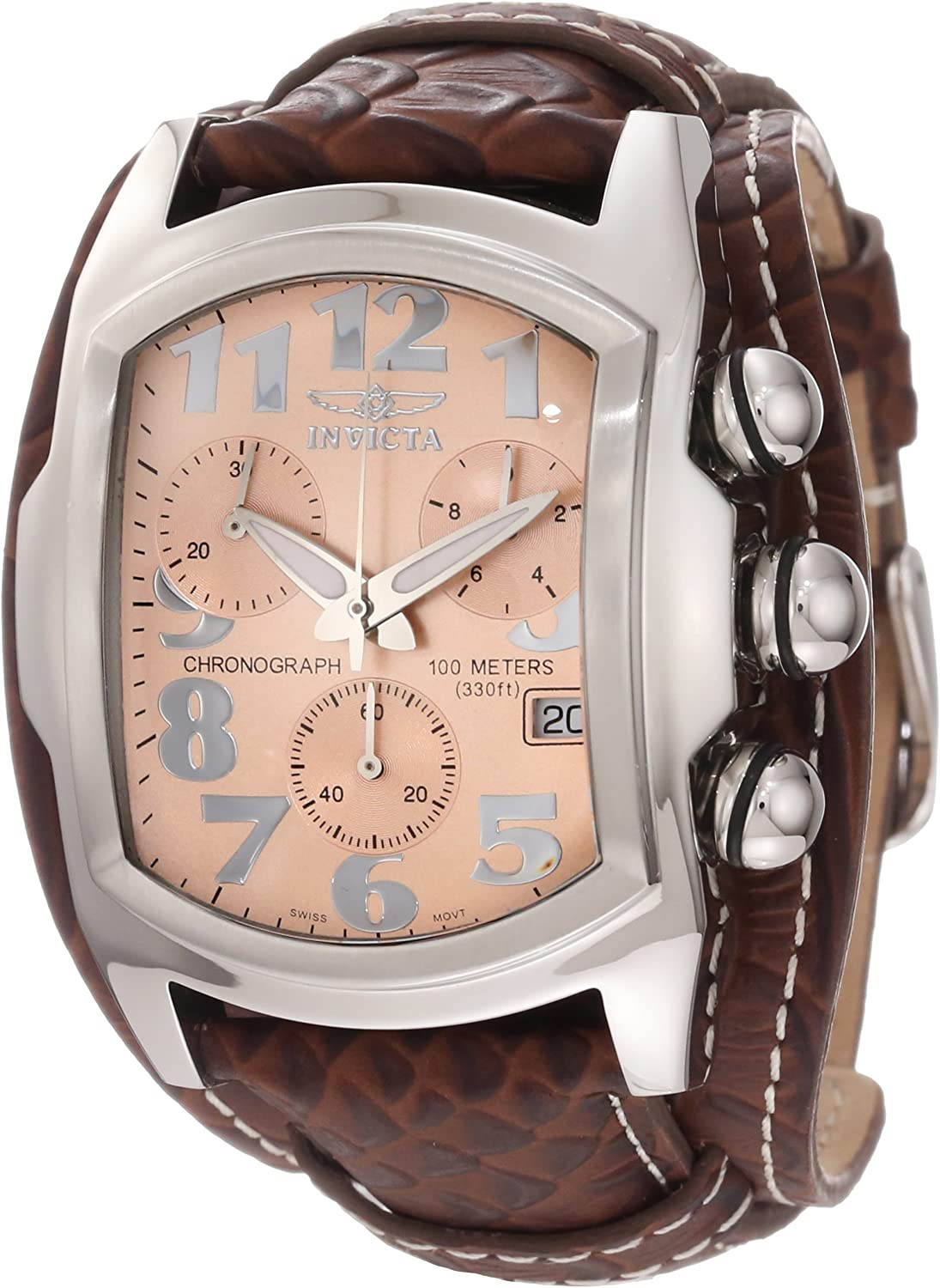 Invicta Men s 11323 Lupah Chronograph Rose Gold Tone Dial Brown Leather Watch