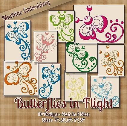 Amazon Com Butterflies In Flight Redwork Embroidery Machine Designs