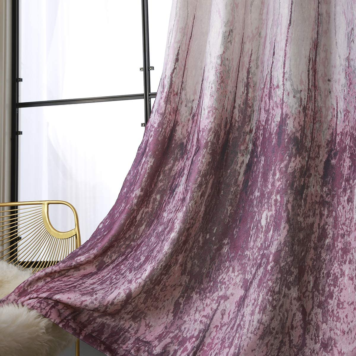 Taisier Home Grommet Top Style Vintage Watercolor Purple Abstract Painting Windows Darkening Curtains Printed Nature Abstract Art Crayon for Living Room Bedroom (2 Panels 52 x 95 Inch)