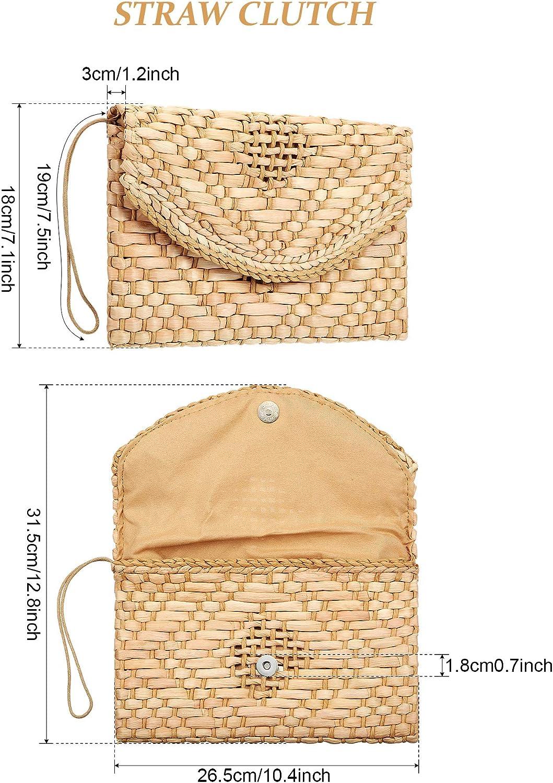 Frienda 2 Bourse dEmbrayage de Paille Sac Enveloppe de Paille Tiss/ée Embrayage de Bracelet Sac de Plage d/Ét/é