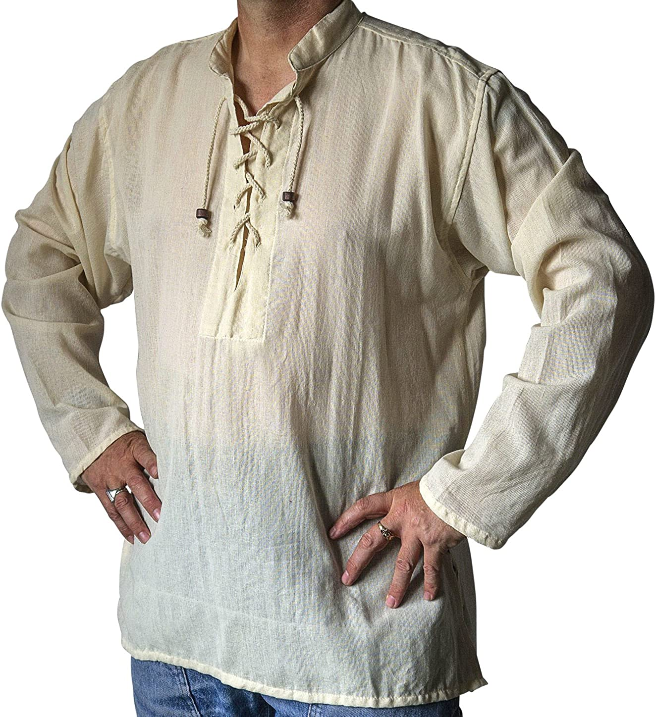 NATURAL FLOW Fair Trade Hippy Boho Cotton Festival Gothic LARP Pirate Day Kurta Shirt