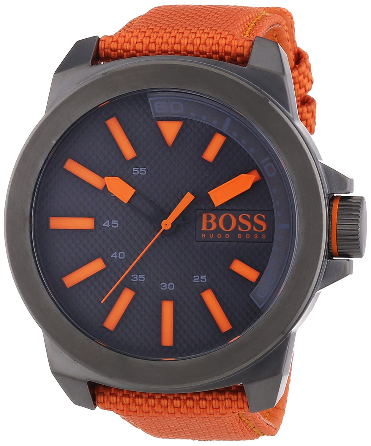 BOSS Orange Herren-Armbanduhr XL New York Analog Quarz Textil 1513010