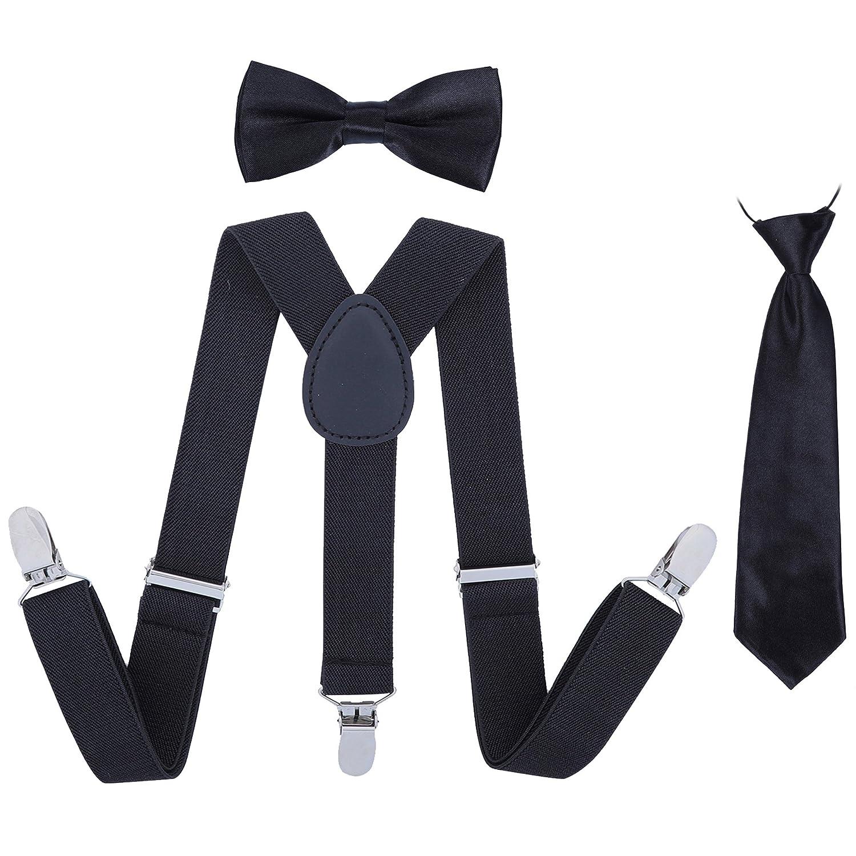 b3e214ac944 Kids Suspender Bowtie Necktie Sets - Adjustable Elastic Classic Accessory  Sets for Boys   Girls