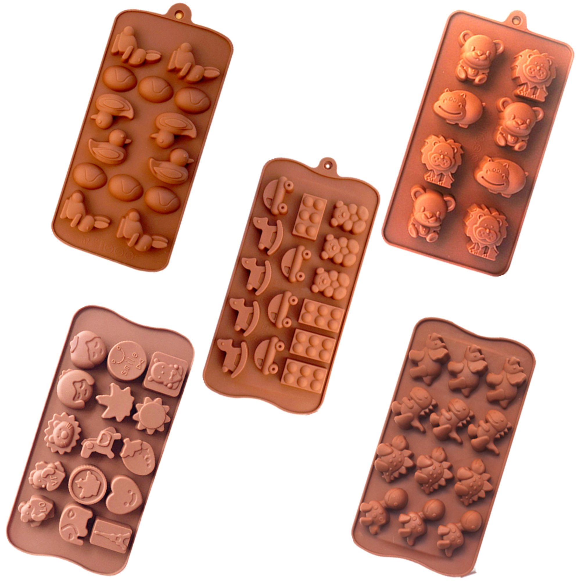 Wocuz 6pc Candy Molds, Chocolate Molds, Silicone Molds, Soap Molds, Silicone Baking Molds-6pc Value Set- Dinosaur,happy Faces,robots,bunny,figures,fruits, Kids Toys (Set of 6)