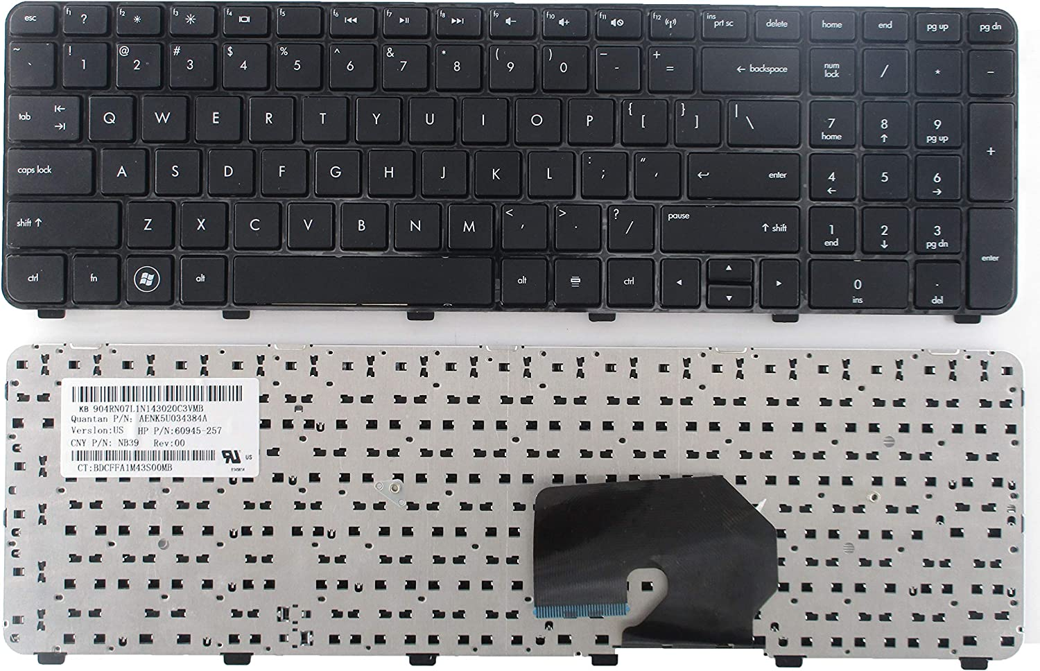 SUNMALL Laptop Keyboard Replacement for HP Pavilion DV7-6000 DV7-6100 DV7-6200 DV7-6B00 DV7-6B56NR DV7-6B55DX DV7-6C95DX DV7-6B57NR DV7t-6C00 DV7-6C DV7t-6000 Series Black US Layout
