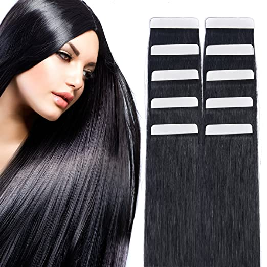 "14"" Tape in Hair Extensions Remy Human Hair Seamless Glue in Tape Hair Extension 20pc 40g/pack Off Black #1B"