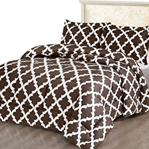 Utopia Bedding Printed Comforter Set (King/Cal King, Chocolate) with 2 Pillow Shams - Luxurious Brushed Microfiber - Down Alternative Comforter - Soft and Comfortable - Machine Washable