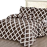 Utopia Bedding Printed Comforter Set (Queen/Full, Chocolate) with 2 Pillow Shams - Luxurious Brushed Microfiber - Down…