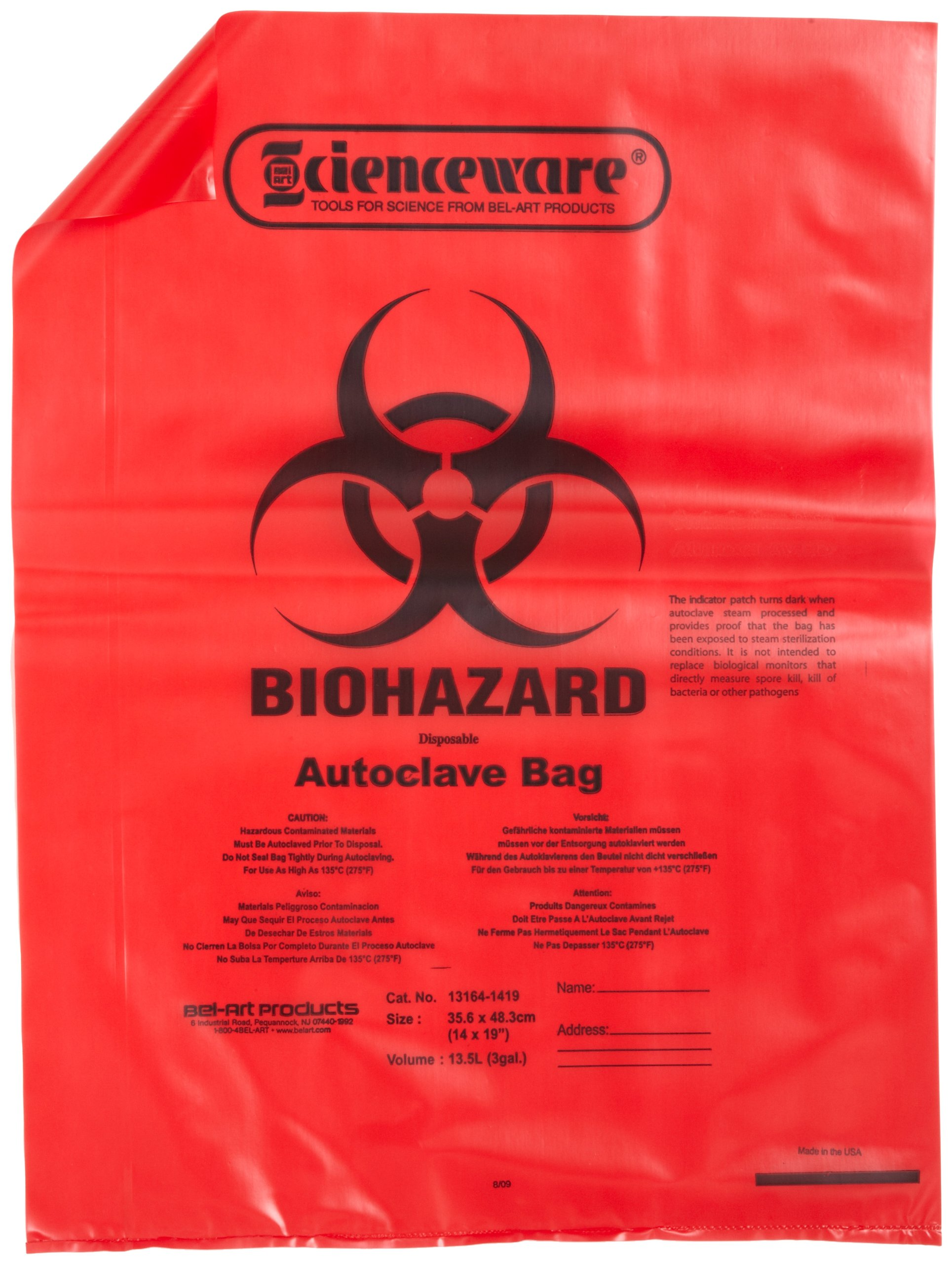 Bel-Art F13164-1419 Polypropylene 2-4 Gallon Red Biohazard Disposal Bags with Warning Label/Sterilization Indicator, 14W x 19 in. H, 1.5mil Thick (Pack of 200) by SP Scienceware