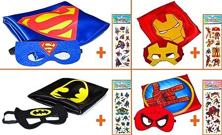 Batman, Superman + Iron Man + SPIDER mano (Juego 4 Unidades) + 4 pegatinas. Kim y máscara - Disfraces Niños de superhéroes Cape and Mask - Super Heroes ...