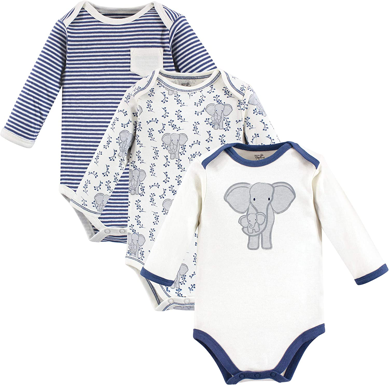 Touched by Nature Baby Boys' Organic Cotton Long-Sleeve Bodysuits