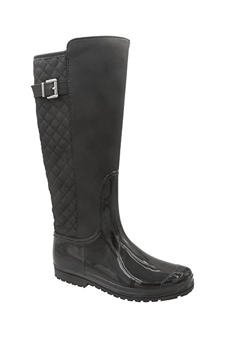 Gianna Womens Mid calf Knee High Quilted Rain boot With Full Side Zipper